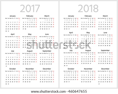 Simple calendar for 2017 and 2018 years. Week starts from Monday.