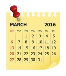 Simple calendar for March 2016