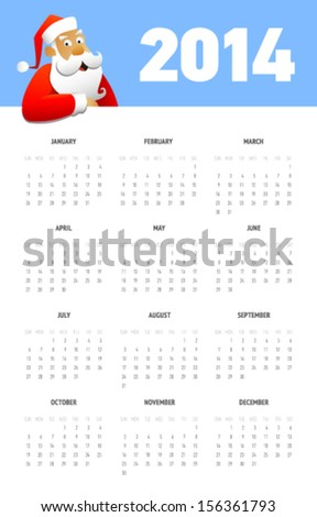 Simple calendar for 2014 with Santa