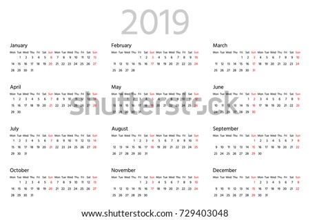 Simple calendar for 2019 year. Two weeks horizontal line. Week starts from Monday. Sans serif font, white background