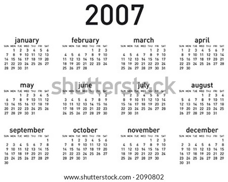 Simple 2007 calendar. Horizontal layout. Vector format, can be scaled to any size (type is both as fonts and as curves for maximum customization)