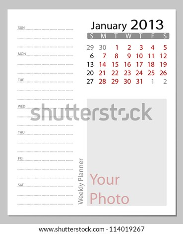 Simple 2013 calendar, January. All elements are layered separately in vector file. Easy editable.