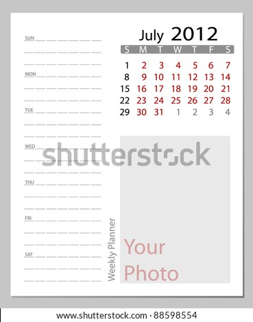 Simple 2012 calendar, July.  All elements are layered separately in vector file. Easy editable.