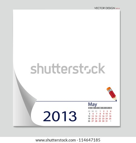 Simple 2013 calendar, May. All elements are layered separately in vector file. Easy editable.