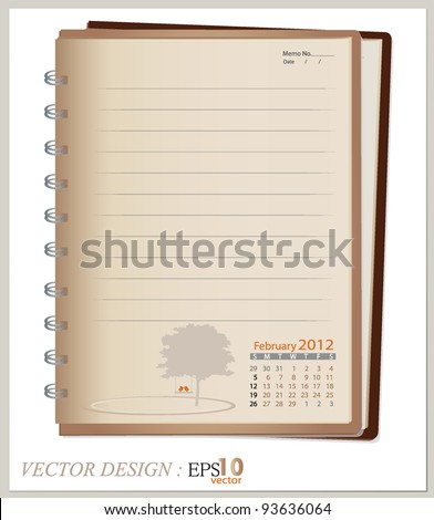 Simple 2012 calendar notebook, February. All elements are layered separately in vector file. Easy editable.