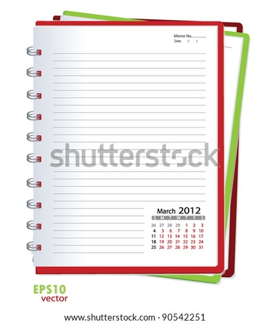 Simple 2012 calendar notebook, March. All elements are layered separately in vector file. Easy editable.