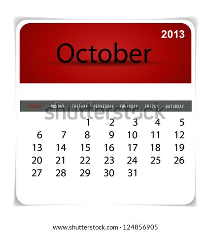 Simple 2013 calendar, October. All elements are layered separately in vector file. Easy editable.