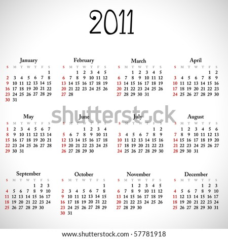 Simple calendar of 2011, easy to edit. Vector illustration.