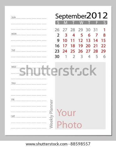 Simple 2012 calendar, September.  All elements are layered separately in vector file. Easy editable.