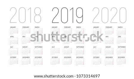 Simple Calendar template for 2018, 2019 and 2020