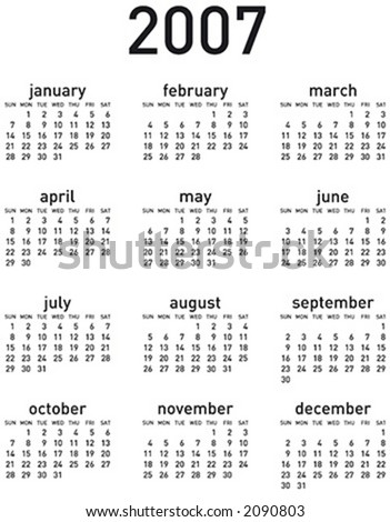 Simple 2007 calendar. Vertical layout. Vector format, can be scaled to any size (type is both as fonts and as curves for maximum customization)