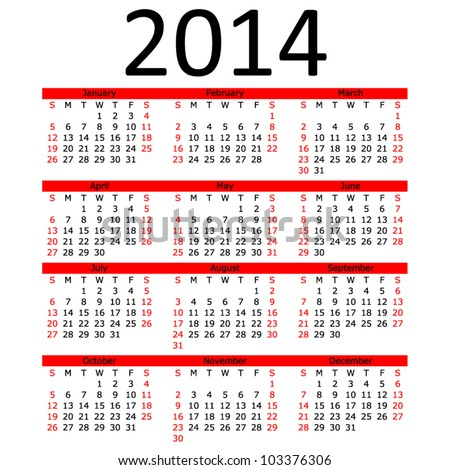 Simple 2014 Calendar with Red Bar (EPS 10) - stock vector