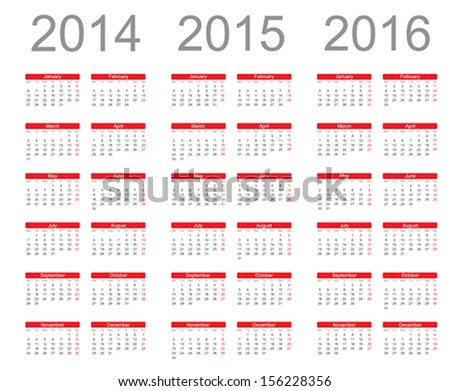 Simple Calendar year 2014 2015 2016 vector