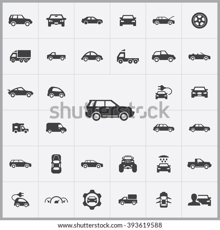 Simple car icons set. Universal car icon to use in web and mobile UI, set of basic UI car elements