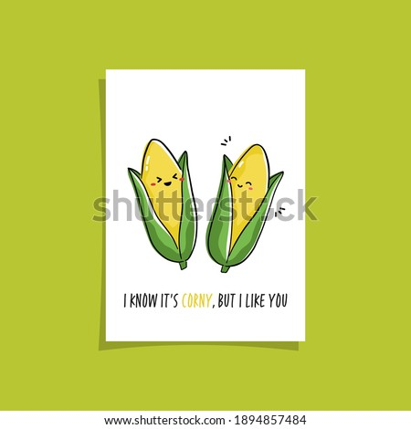 Simple card design with cute veggie and phrase - I know it's corny, but I like you.  Kawaii drawing with corn. Illustration with cute maize Сток-фото ©
