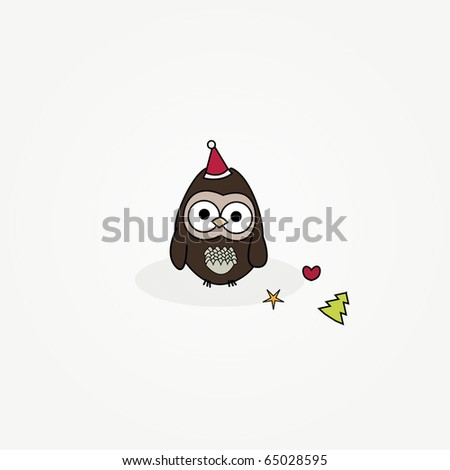 simple card illustration of cartoon owl with christmas hat and ornaments