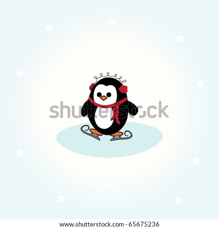 simple card illustration of cartoon penguin with scarf, ear warmers and skates