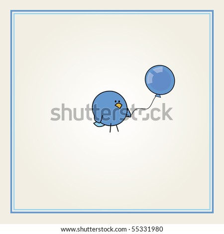 simple card illustration of funny cartoon bird with a blue balloon for boys