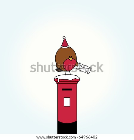 Simple card illustration of funny cartoon bird with a letter on top of post box  with christmas hat and snow