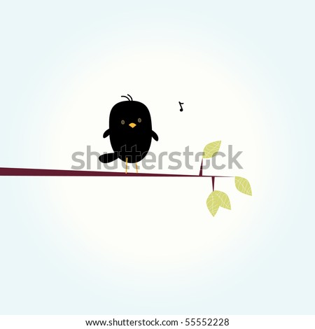 Simple card illustration of funny cartoon black bird on branch