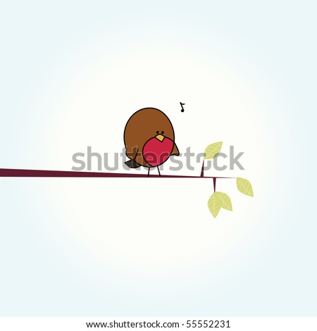Simple card illustration of funny cartoon robin bird on branch