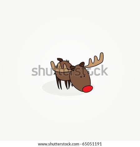"""Simple card illustration of """"Rudy"""" the reindeer with a red nose sniffing the ground"""