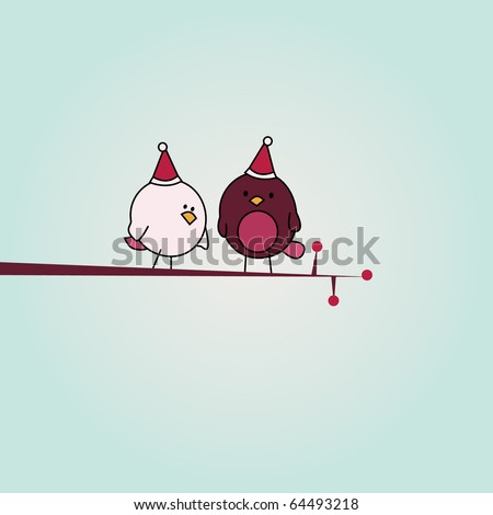 simple card illustration of two funny cartoon birds with christmas hats on a branch