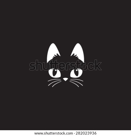 simple cartoon cat icon on a