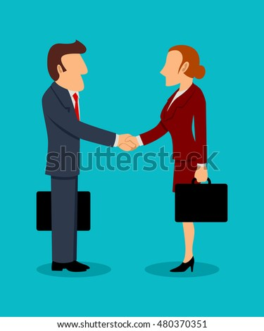Simple cartoon illustration of businessman and businesswoman shaking hands