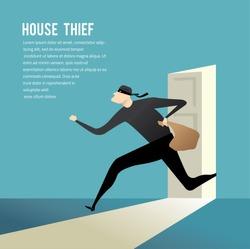 Simple cartoon of a burglar break into a house in flat stele/ Vector illustration