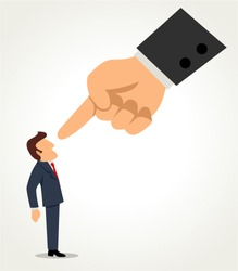 Simple cartoon of a businessman being pointed by giant finger