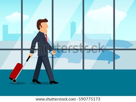 Simple cartoon of a businessman carrying a luggage at the airport