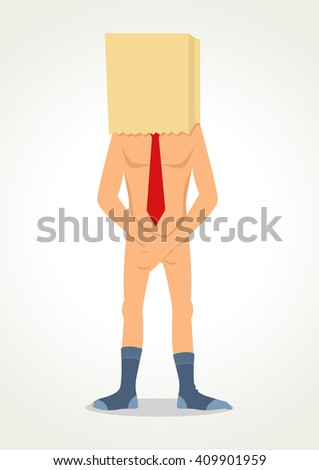 Simple cartoon of a naked man with paper bag on his head, embarrassment, ashamed, failure concept