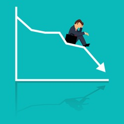 Simple cartoon of businessman sitting frustratedly on decreasing graphic chart, business failure, crisis concept