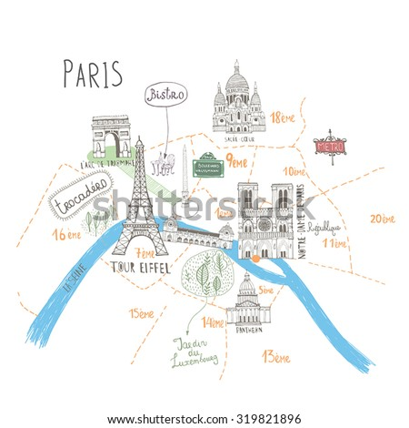 Simple Cartooned Map o Paris with Legend Icons. France  Foto stock ©