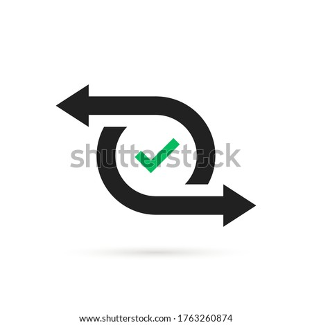simple cash flow icon or easy transfer. flat style trend repeat arrow logotype graphic design technology element isolated on white background. concept of mobile app or right and left direction