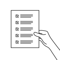 simple checklist or to-do list in thin line hand. lineart trend modern linear easy poll graphic stroke design isolated on white background. concept of inspection list of completed success work tasks