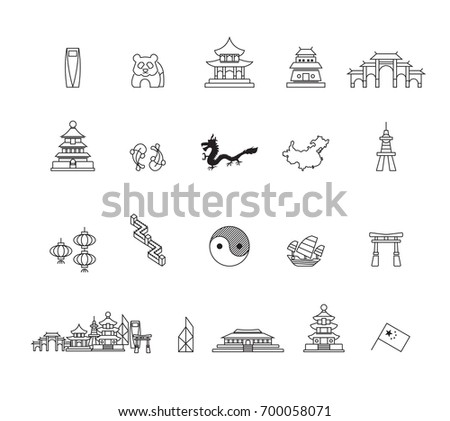 Simple China icons set,Vector