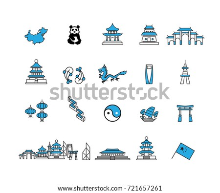 Simple China icons set, Vector