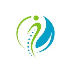 simple chiropractic logo. shilhouette of actve people and spine. spinal care vector template illustration
