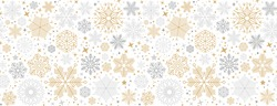 Simple Christmas seamless pattern with geometric motifs. Snowflakes and circles with different ornaments. Retro textile collection. On white background