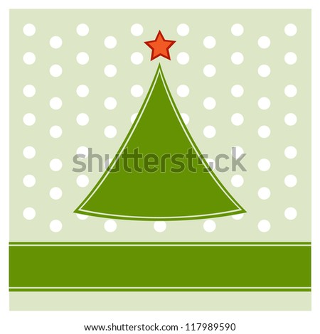 Simple Christmas tree on polka dot pattern background