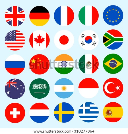 Simple circle flags vector of the countries in flat style.