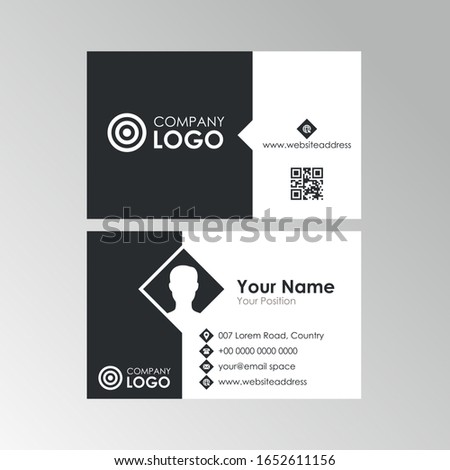 Simple clean black and white business card design, professional name card template vector