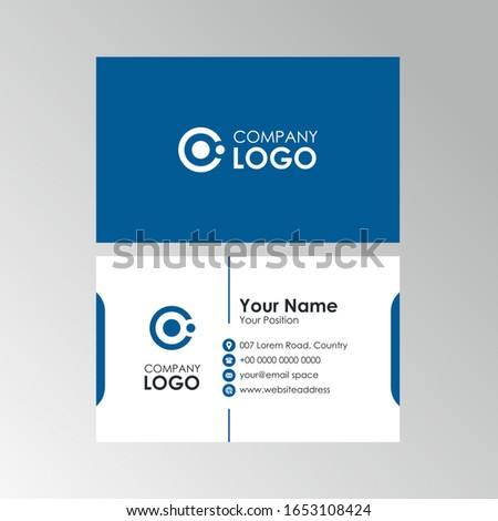 Simple Clean Blue business card design, professional name card template vector