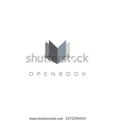 simple clean book logo sign