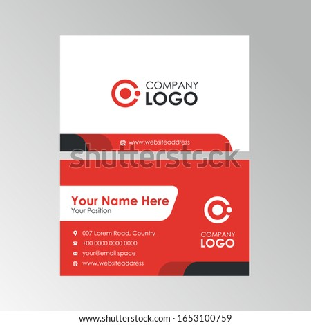 Simple Clean Red business card design, professional name card template vector