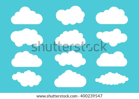 Simple cloud collection. Set of different clouds. Icons and logo cloud set. Design template.
