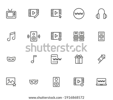 Simple collection of entertainment related line icons. Thin line vector set of signs for infographic, logo, app development and website design. Premium symbols isolated on a white background. Stock fotó ©