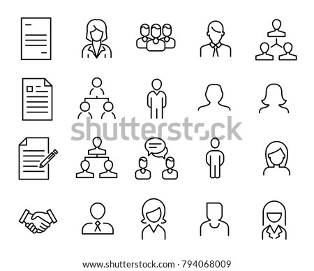 Simple collection of human resources (HR) related line icons. Thin line vector set of signs for infographic, logo, app development and website design. Premium symbols isolated on a white background.